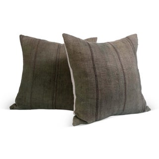 Vintage Jute Fabric Pillows - A Pair