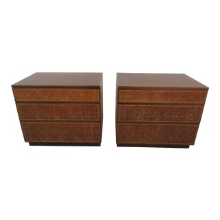 Mid-Century Modern Cane Nightstands by Directional -A Pair For Sale