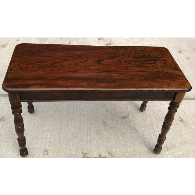 Mid 19th Century Antique Hand Hewn Rosewood Library Console Table For Sale - Image 5 of 9