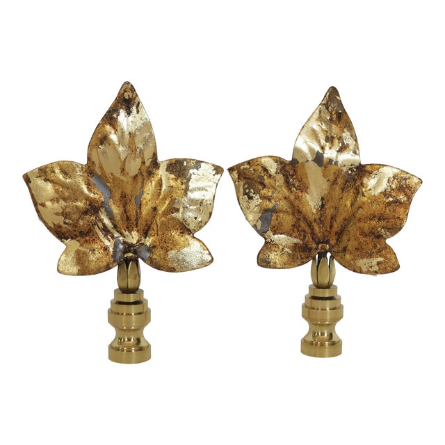 Large Sycamore Leaf Finials, Last Pair! For Sale
