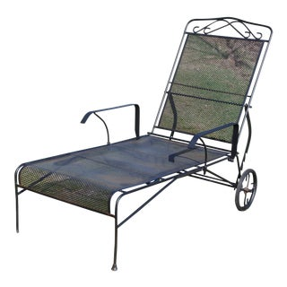 Vintage Rolling Adjustable Reclining Mesh Wrought Iron Chaise Lounge Chair Patio For Sale