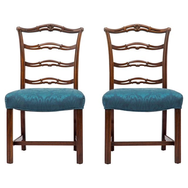 Chippendale Ladder-Back Side Chairs, S/4 For Sale - Image 9 of 11