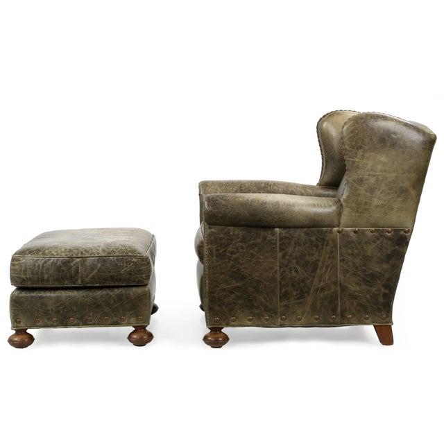 Regency Style Green Leather Club Chair and Ottoman - Image 3 of 11