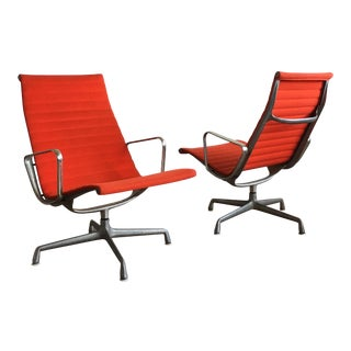 1970s Mid-Century Modern Herman Miller Eames Red Lounge Chairs - a Pair