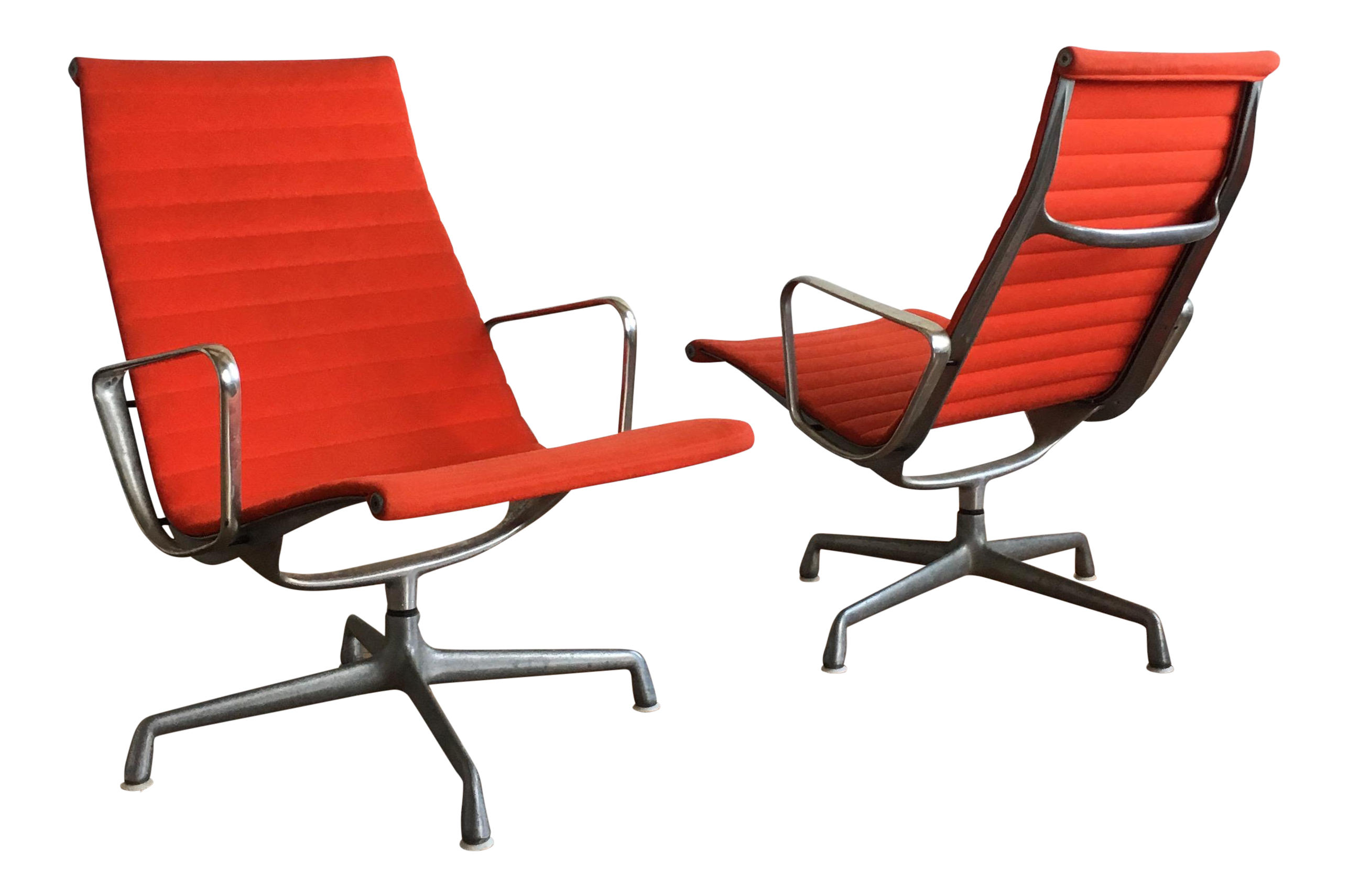 1970s Mid Century Modern Herman Miller Eames Red Lounge Chairs   A Pair