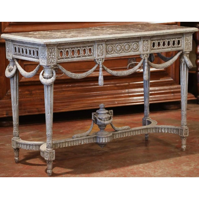 Pair of 19th Century French Carved Painted Consoles Tables With Faux Marble Top For Sale In Dallas - Image 6 of 12