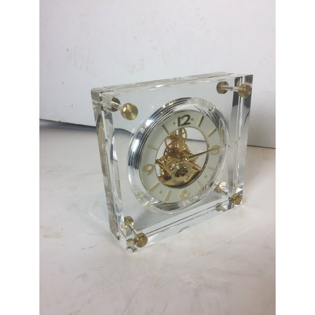 Late 20th Century Late 20th Century Vintage Square Shape Lucite Clock For Sale - Image 5 of 13