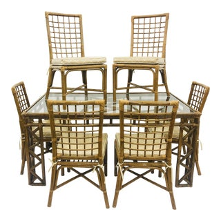 Vintage Boho Chic Chinese Chippendale Dining Set For Sale