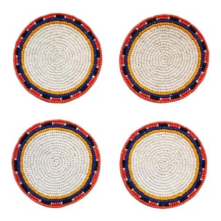 White Multi Beaded Coasters - Set of 4 For Sale