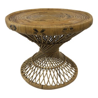 1970s Boho Chic Round Bamboo Side Table For Sale
