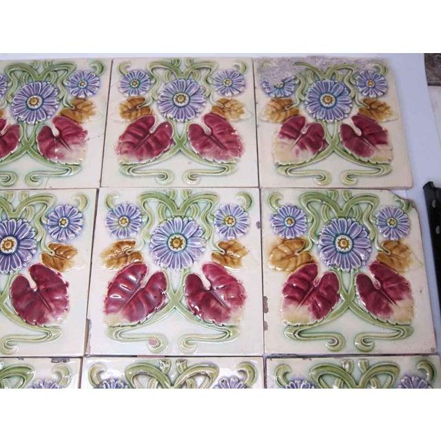 Floral Decorative Colorful Art Nouveau Tiles - Set of 15 For Sale - Image 9 of 10