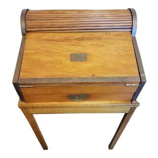 Antique Walnut English Travel Desk For Sale