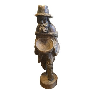 Vintage Wood Carving Statue Bearded Man with Bowl