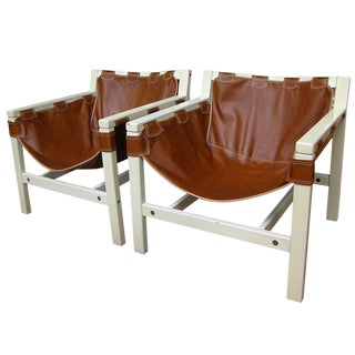 1970s Italian Design Safari Brown Leather and White Lacquered Chairs- a Pair For Sale