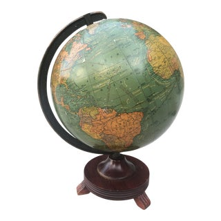 1940s Arts and Crafts George P. Cram Wwii Terrestrial Antique Globe For Sale