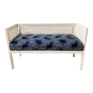 1970s Caned Bench in Linen For Sale