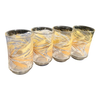 1950s Vintage Wheat Print Juice Glasses - Set of 4 For Sale