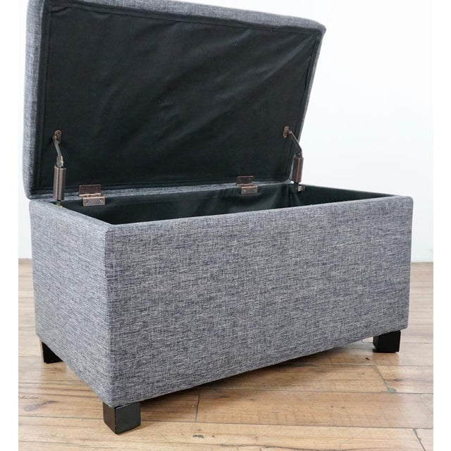 Contemporary Tainoki Gray Upholstered Button Tufted Ottoman For Sale In San Francisco - Image 6 of 10