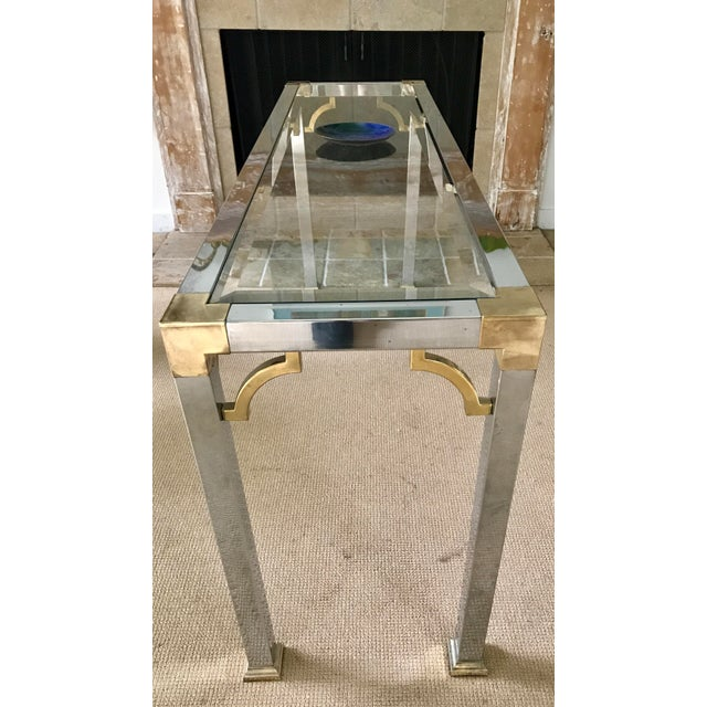 Mid Century Chrome and Glass Console / Sofa Table - Image 6 of 11