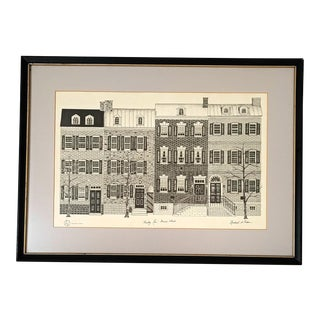 Original Custom Framed and Matted Charcoal of Gentry Row Prince St Alexandria Va Artwork by Rachel A. Pedson For Sale
