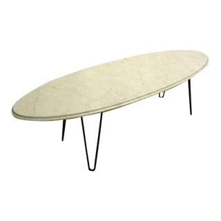 Vintage Mid-Century Marble Coffee Table With Hairpin Legs