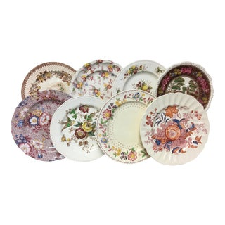 Fall Fruits & Florals Vintage Mixed Dinner Plates Set 8 For Sale