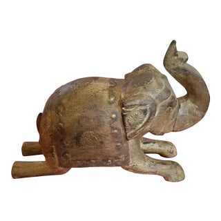 Indian Wooden Elephant With Secret Box