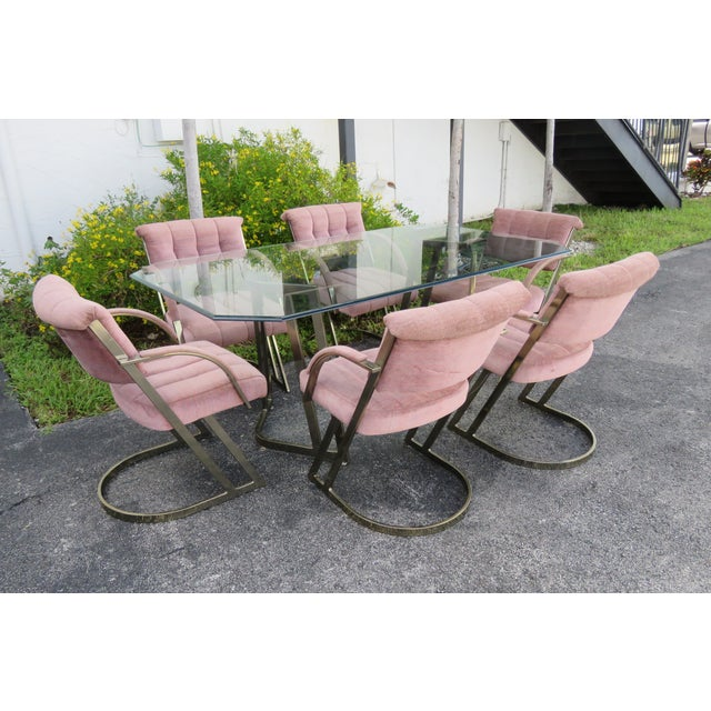 Hollywood Regency Glass Top Dining Table With 6 Chairs by Cal Style For Sale - Image 12 of 12