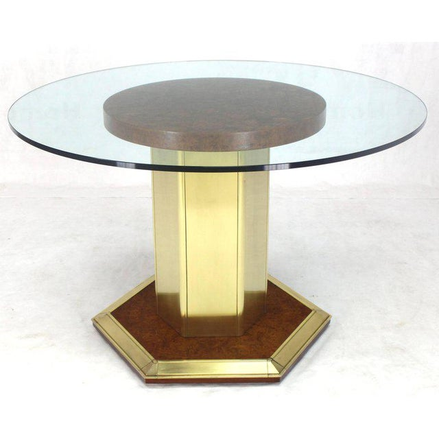 Henredon Mid-Century Modern Henredon Round Brass Burl Wood Dining Table For Sale - Image 4 of 9