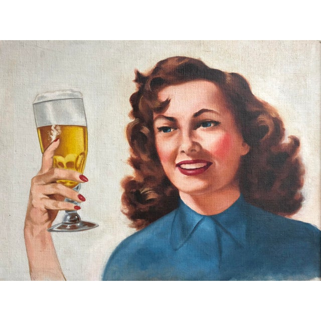 Americana Mid Century Illustrator Oil/Canvas of a Woman With Beer For Sale - Image 3 of 8