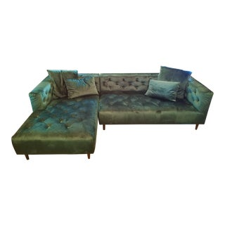 Modern Green Velvet Chesterfield Sectional With Left Chaise For Sale