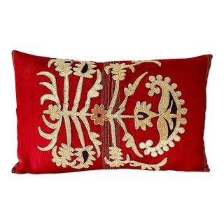 Vintage Embroidered Silk & Rayon Samarkand Down Feather Pillow For Sale