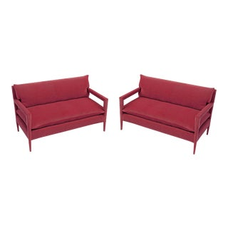 Stunning Parsons Sofa With Stiletto Legs Fully Reupholstered in Rich Pink Velvet - a Pair For Sale