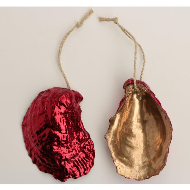 Metal Red Gilded Oyster Shell Ornaments, Set of 6 For Sale - Image 7 of 8