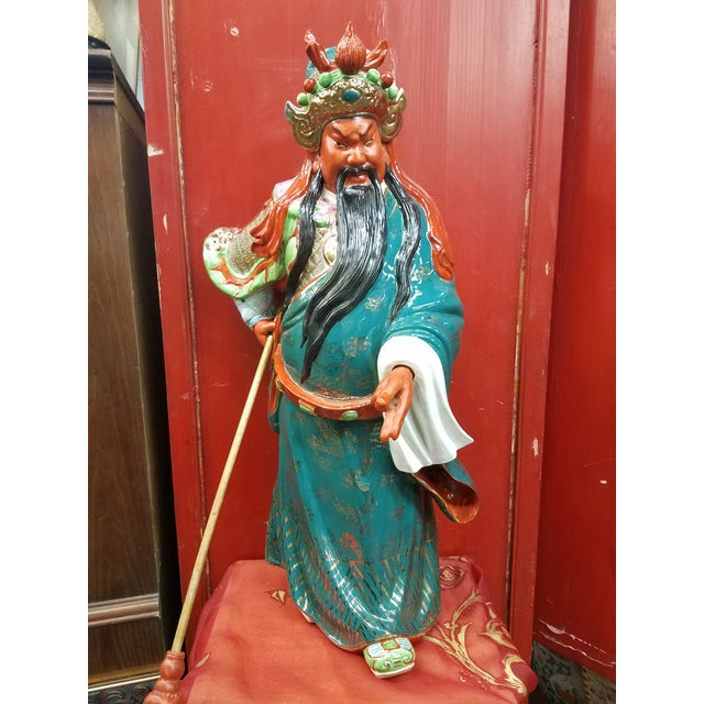 Figurative Mid-Century Chinese Porcelain Warrior Statue For Sale - Image 3 of 12