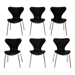 Series 7 Black Leather and Chrome Dining Chairs - Set of 6