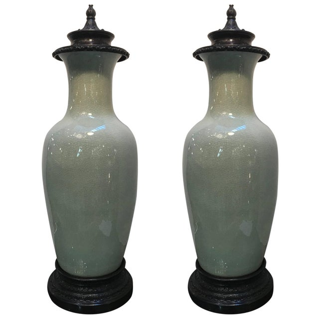 Green 20th Century Chinese Celedon Porcelain Vases - a Pair For Sale - Image 8 of 8