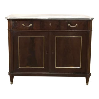 Mid-19th Century French Directoire Mahogany Marble Top Buffet For Sale