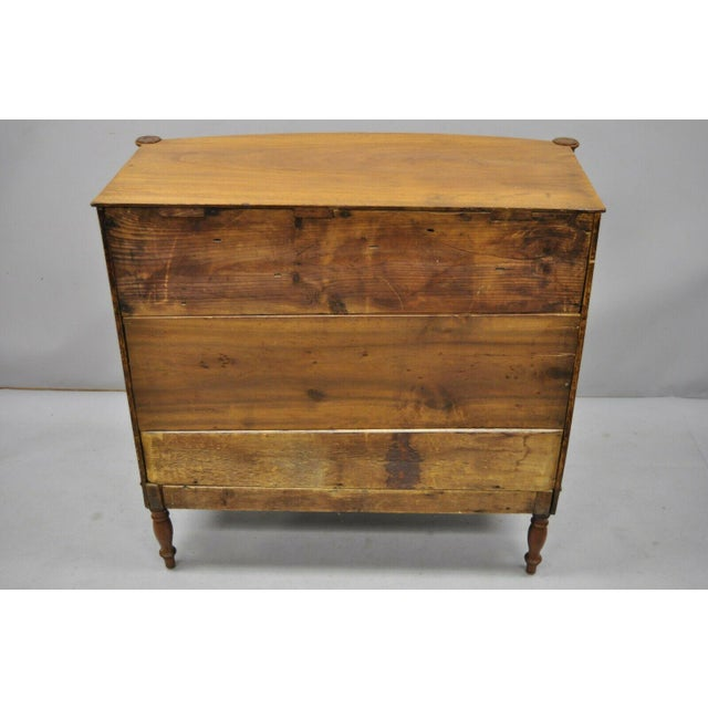 19th Century Sheraton 4 Drawer Mahogany Bow Front Chest Of Drawers For Sale - Image 12 of 13