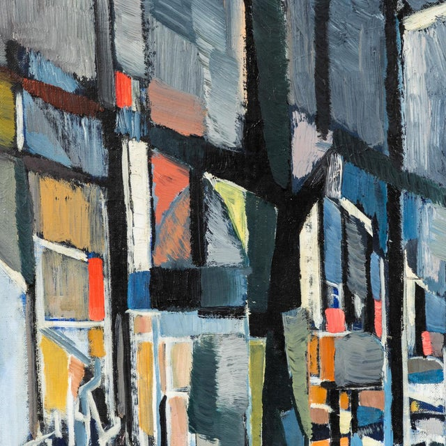 """Canvas """"Paris Boulevard by Night"""" Oil Painting on Canvas by Jean Lamorlette For Sale - Image 7 of 10"""