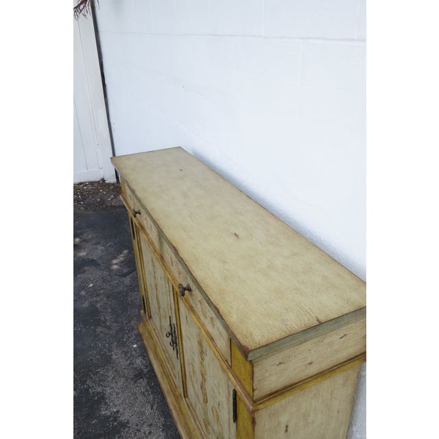 French Shabby Shic Painted Distressed Tall Sideboard Buffet Narrow Console 2154 For Sale - Image 10 of 13