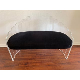 "1970s Vintage Charles Hollis Jones for Hill Mfg Clear Lucite ""Angel Wings"" Bench Preview"
