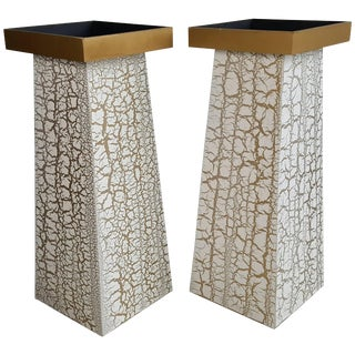 Modernist Crackle Finish Plant Stands / Pedestals - A Pair For Sale
