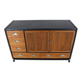 1970s Mid-Century Modern Black Lacquer Walnut Accordion Double-Door Credenza For Sale
