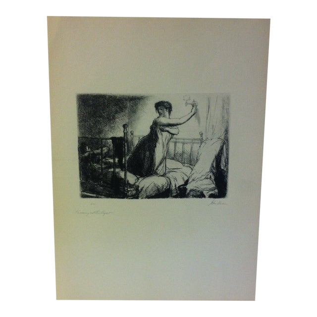 "1939 Simon & Schuster Famous American Print, ""Turning Out the Lights"" by John Sloan For Sale"