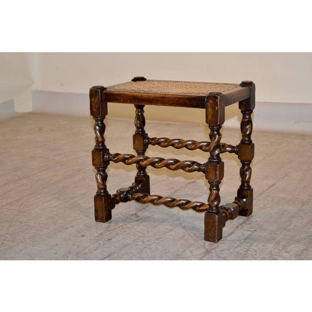Traditional 19th Century English Turned Stool With Caned Top For Sale - Image 3 of 5