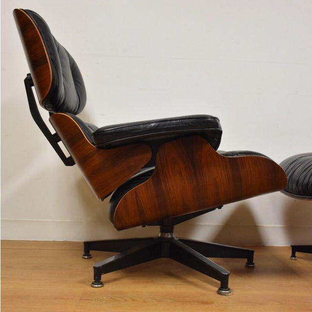 original eames rosewood lounge chair and ottoman chairish. Black Bedroom Furniture Sets. Home Design Ideas