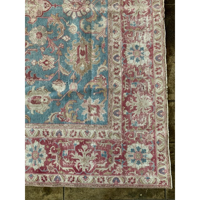 """Persian Tapriz Rug from the 1930s hand made with blue, red, and white accents. Fills up your space nicely. 10'8"""" X 7' 6""""..."""