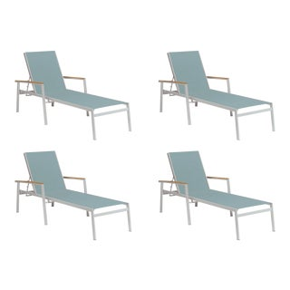 Outdoor Sling Chaise Lounge, Natural and Slate (Set of 4) For Sale