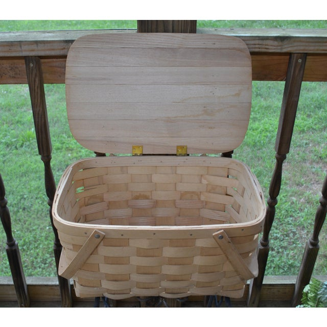 Blueberry Wooden Picnic Basket For Sale - Image 5 of 8